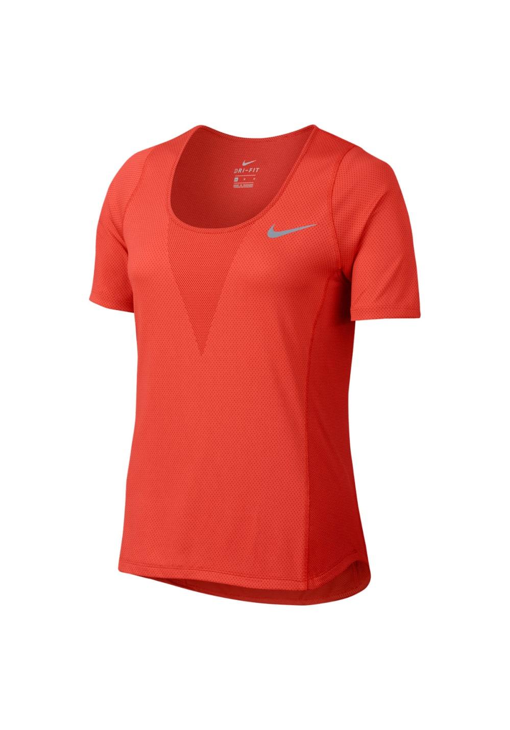 Sportmode für Frauen - Nike Zonal Cooling Relay Running Tee Laufshirts für Damen Rot  - Onlineshop 21Run