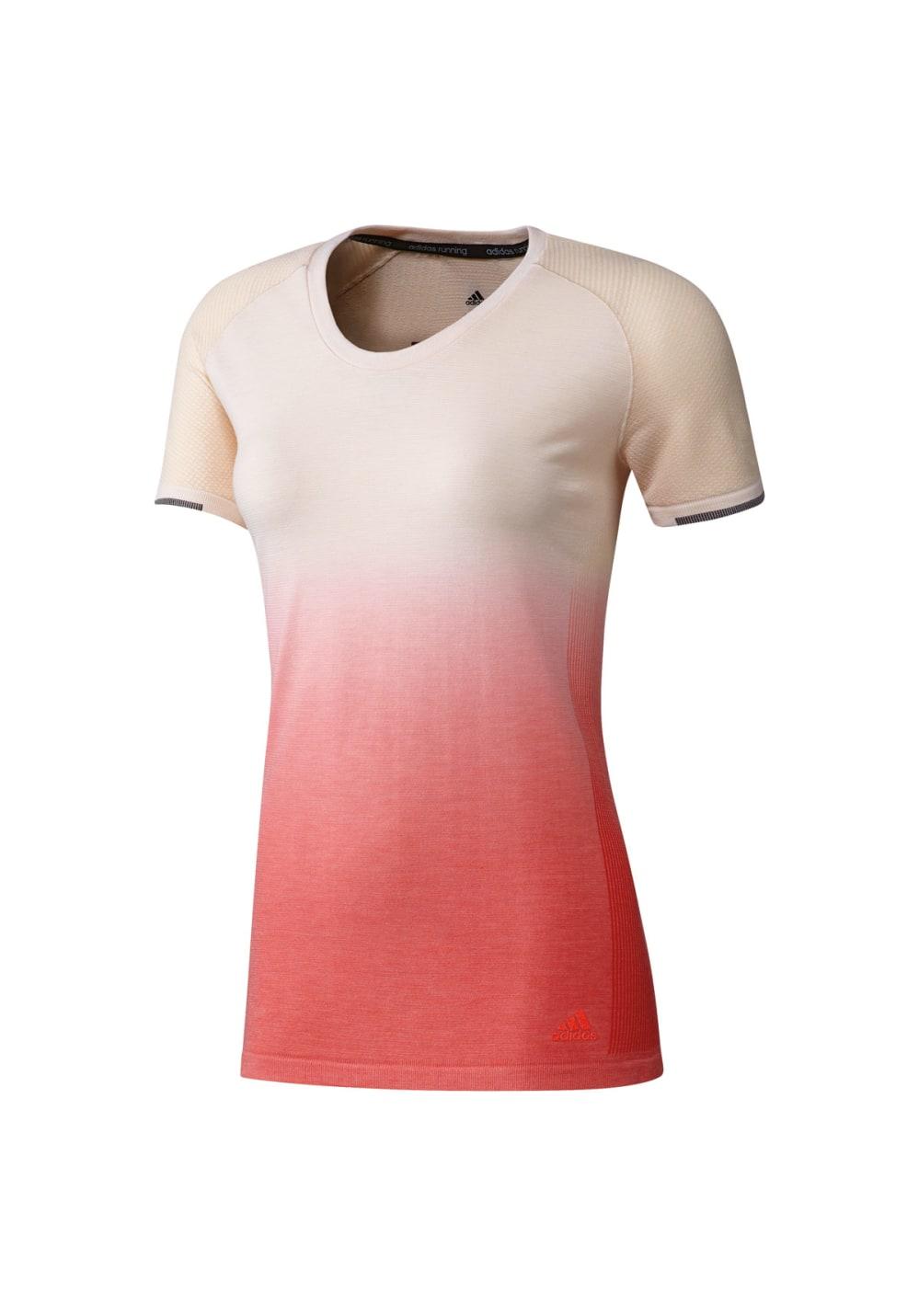 adidas Primeknit Wool Sh Sleeve Tee Dip Dye - Laufshirts für Damen - Orange, Gr