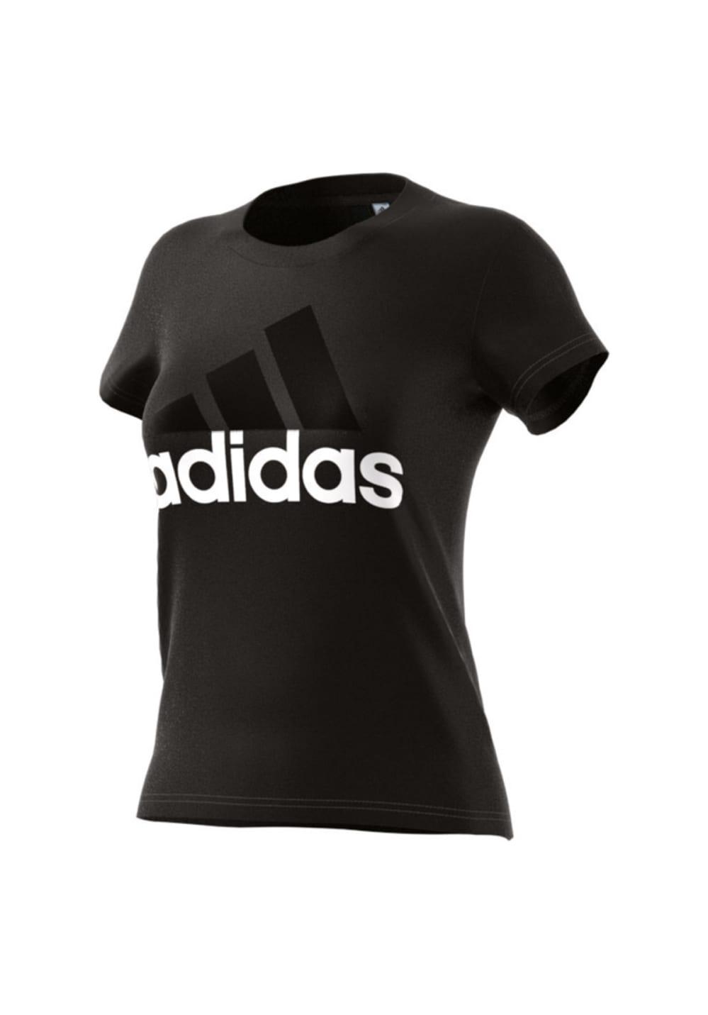 adidas Essentials Linear Slim Tee - Laufshirts für Damen - Schwarz