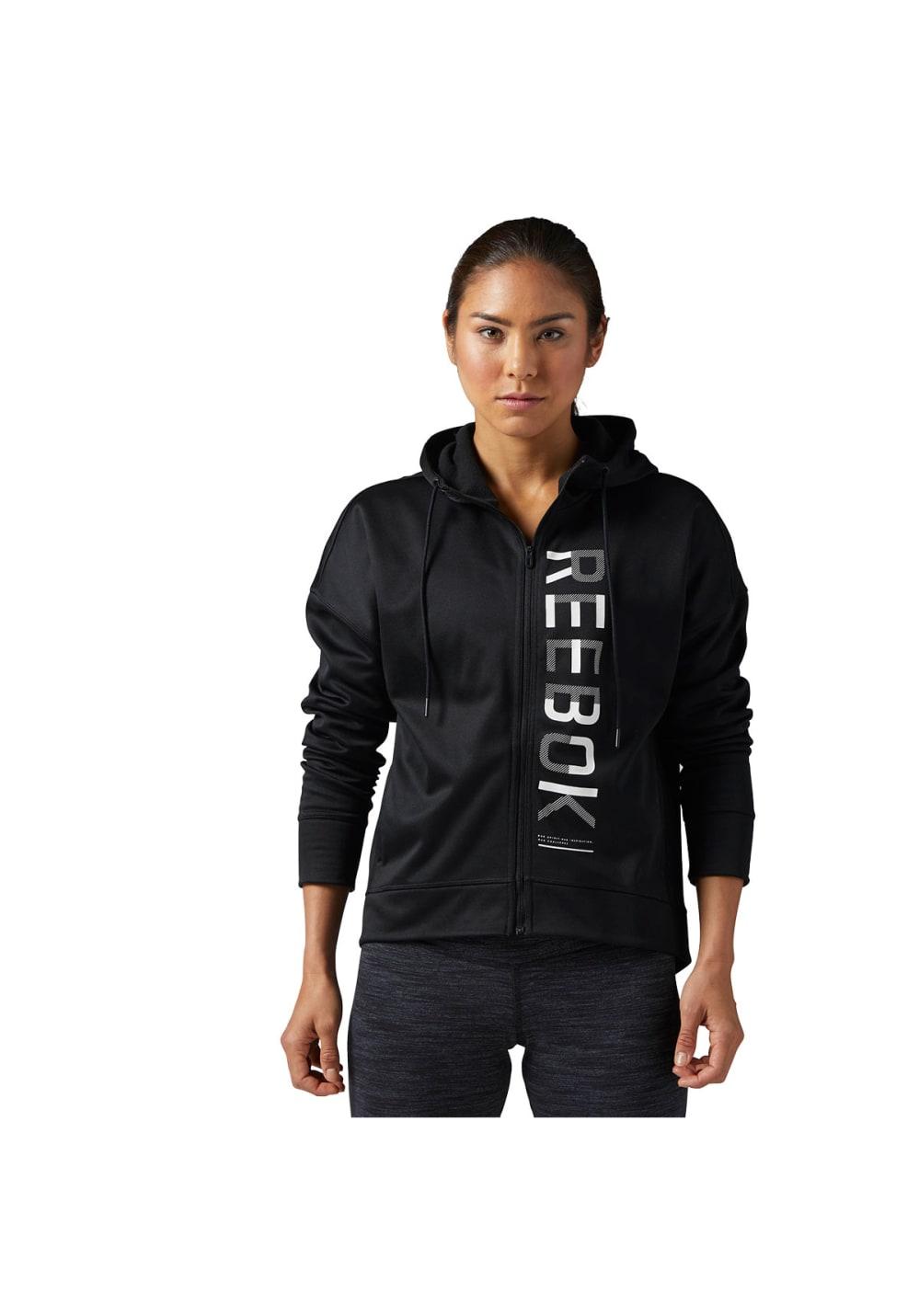 Reebok Workout Bb Fleece Fz Hoodie - Fitnessshirts für Damen - Schwarz, Gr. M
