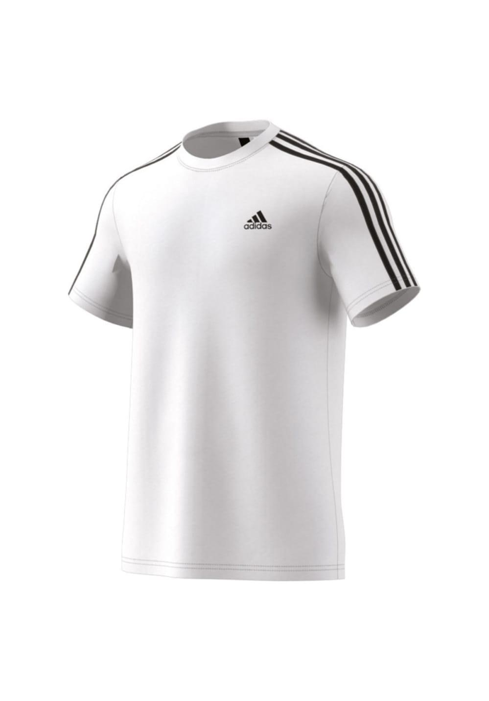 adidas Essentials 3 Stripes Tee - Laufshirts für Herren - Weiß