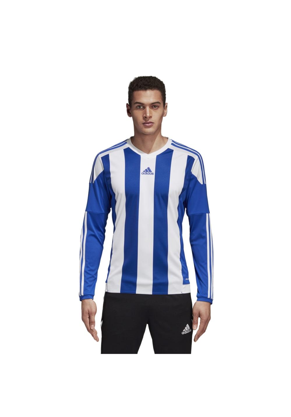 adidas STRIPED15 JSY L Fitnessshirts für Herren Blau | 21RUN