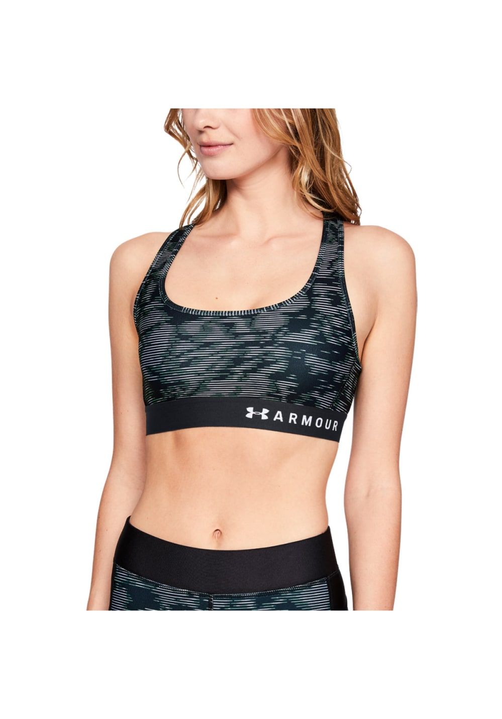8260b4ed Under Armour Armour Mid Crossback Printed Bra - Sport Bras for Women - Black