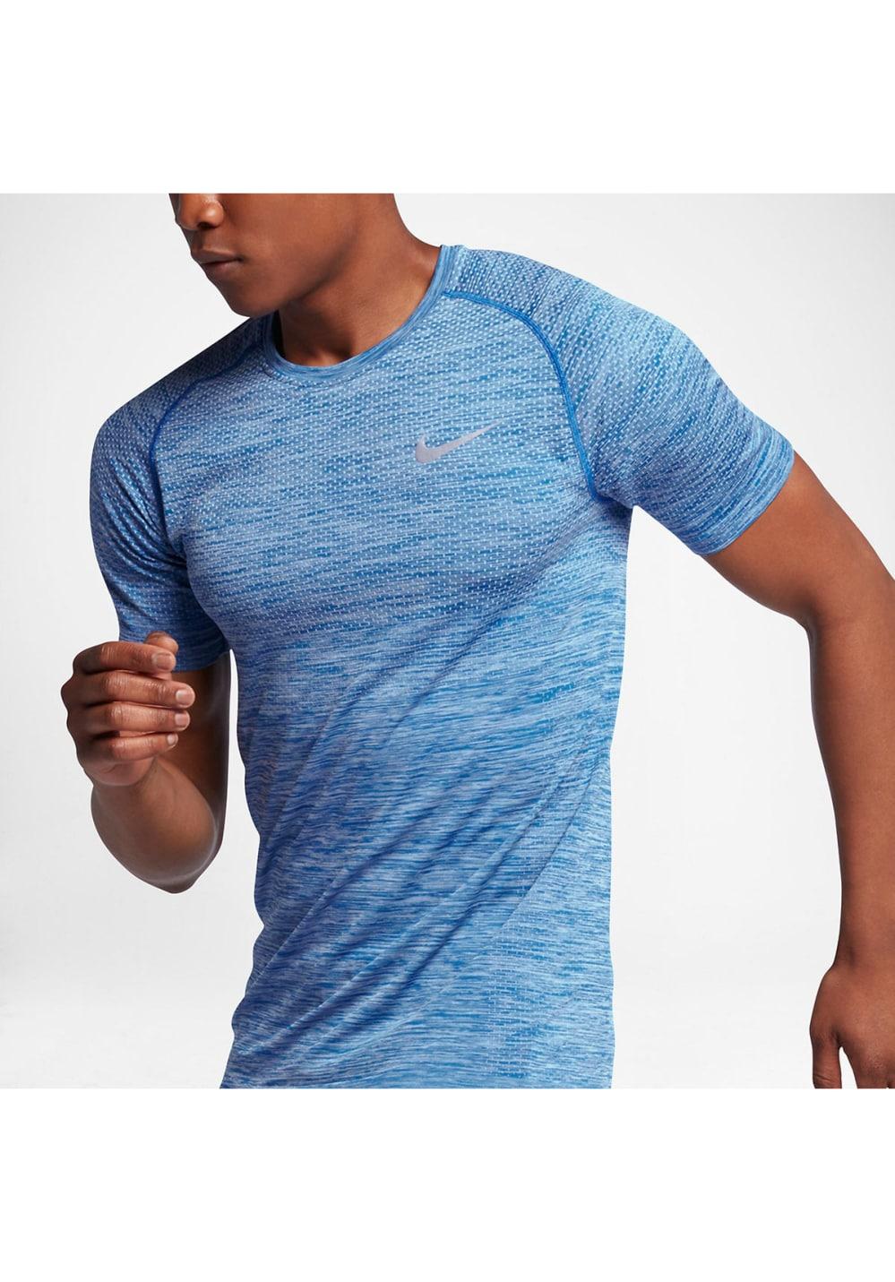 grand choix de 3e4e5 7da16 Nike Dri-FIT Knit Running Top - Maillot de course pour Homme - Bleu