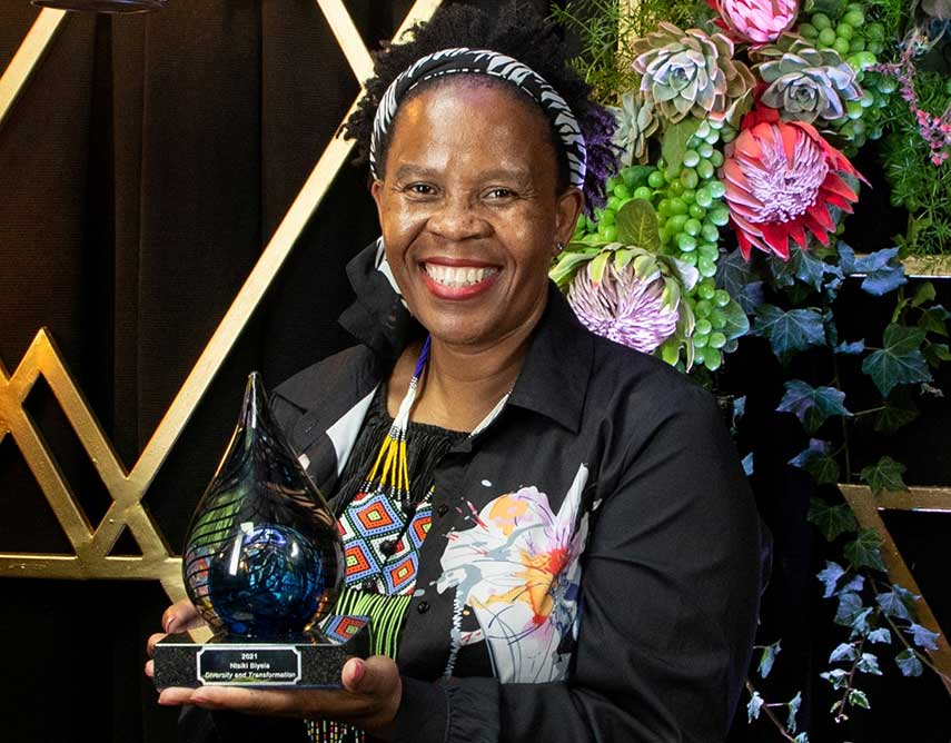 Ntsiki receiving her recent Diversity and Transformation Award