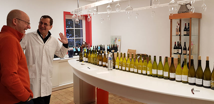 Tim Sykes with Jean-Marc Darbon blending The Society's White Burgundy in 2019