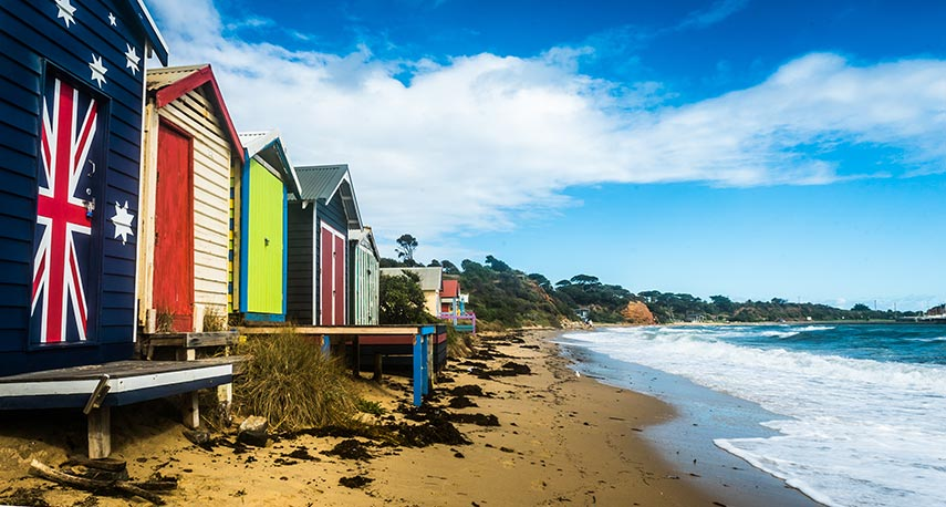 Beach Huts on the coast of Mornington Peninsula