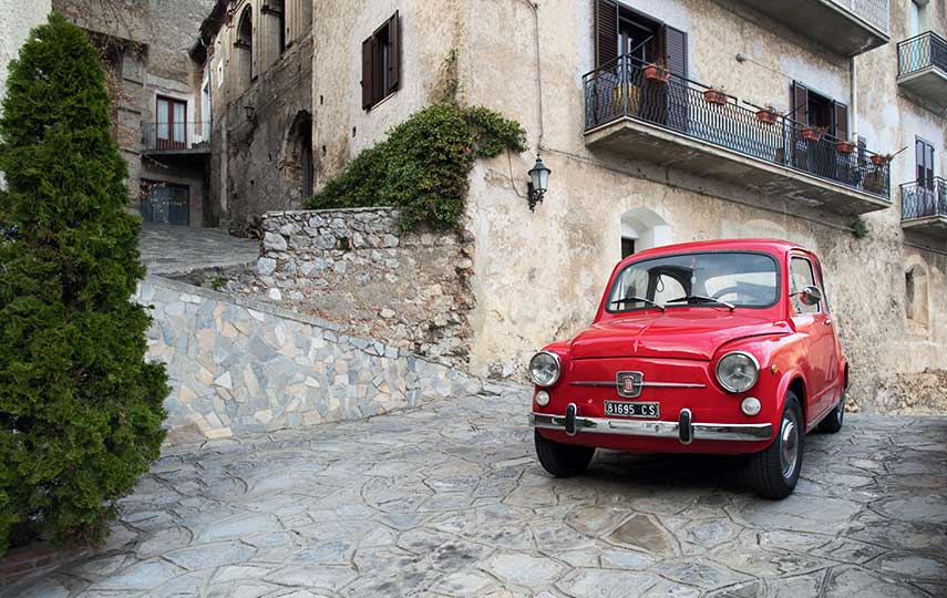 Small but perfectly formed – the Fiat 500 is ideally proportioned for navigating the streets in the Calabria region of Southern Italy