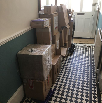 Buyers' hallways stacked with cases