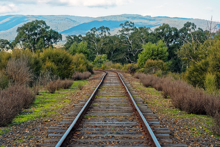 Train track running through the Yarra Valley in Australia