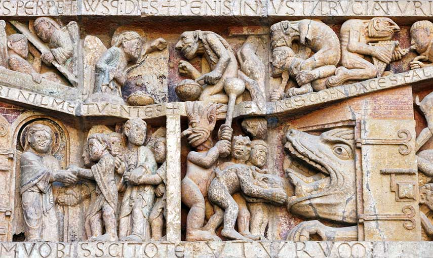 Detail of the tympanum of the Last Judgement at Conques Aveyron