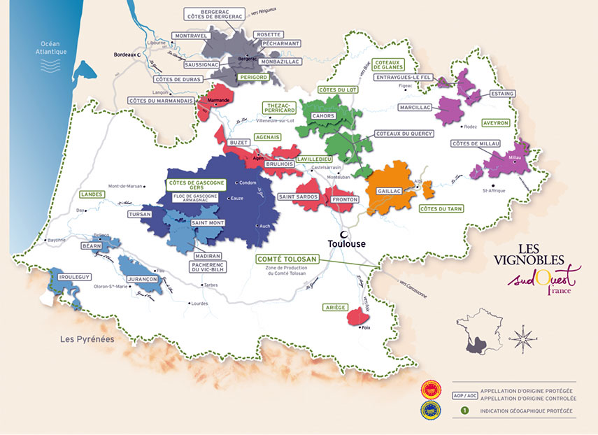 Map showing the wines regions of South-West France
