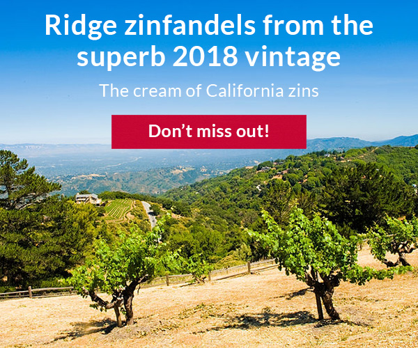 Ridge zinfandels from the 2018 vintage