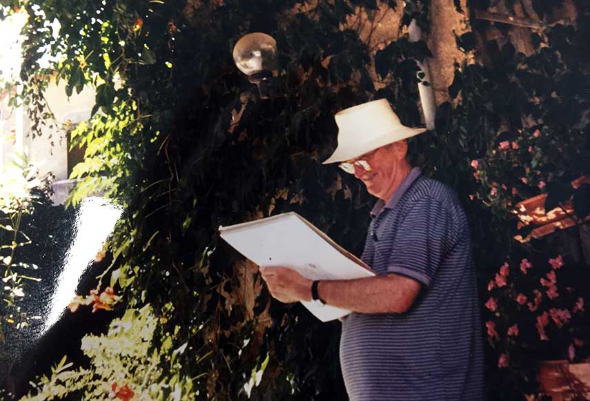 Jim Russell artist and committee member on location in the south of France