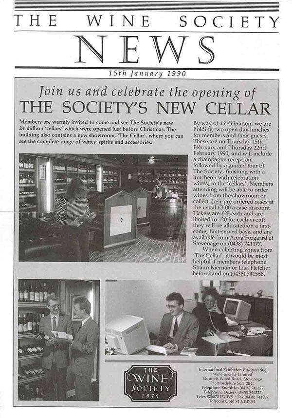 Announcing the opening of our new cellar and Showroom. A very youthful Shaun Kiernan (now Fine Wine Manager) and Lisa Fletcher (Showroom Manager) bottom right!