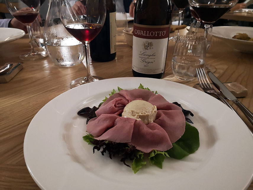 Vitello tonnato is a classic Piedmontese dish of very finely sliced veal served with a dollop of a rich fish sauce made from tuna, capers and anchovies on top. Initially wary, one bite and I was hooked!