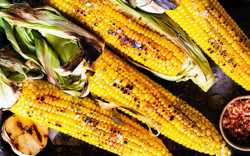 Barbecued sweetcorn with harissa and rosemary butter