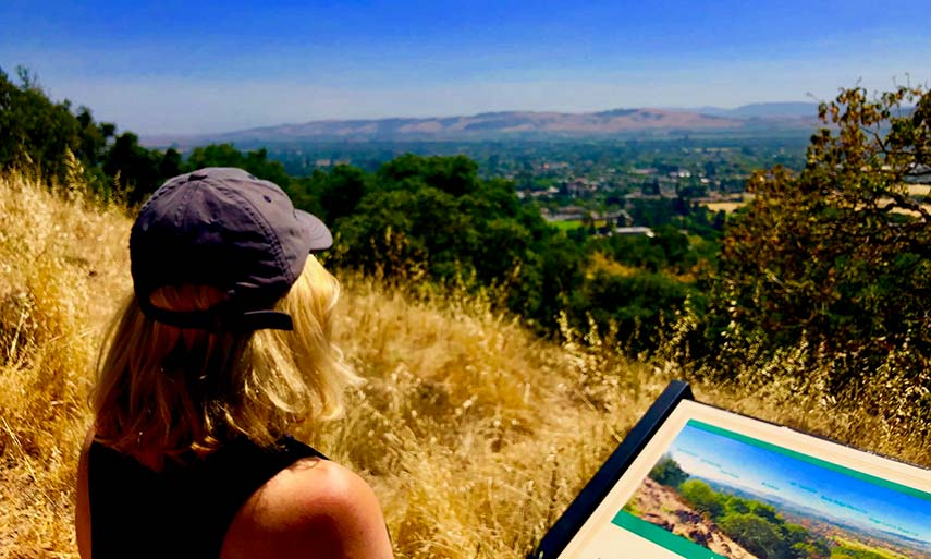 Claudia looking out over the Sonoma Valley, toward her winery and vineyards