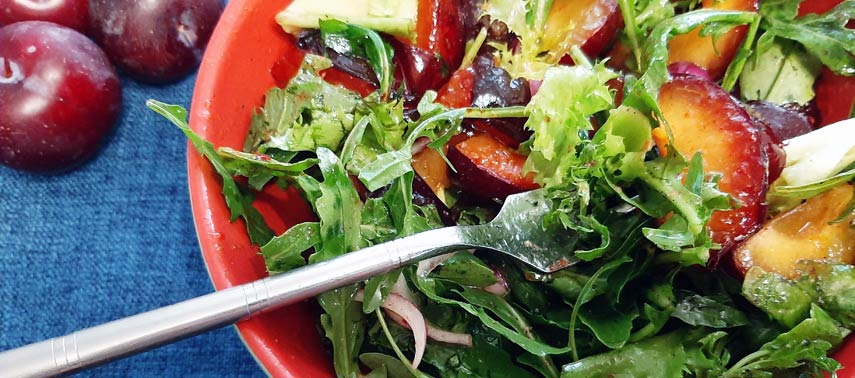 Felicity Cloake's Late-Summer Salad with Roasted Plums and Hazelnuts