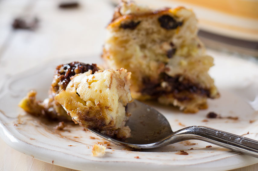 Hot Cross Bun Chocolate Chip and Orange Bread and Butter Pudding