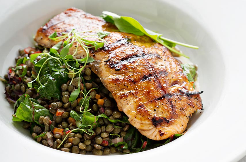 Roast Salmon Fillet with Wine-Poached Lentils
