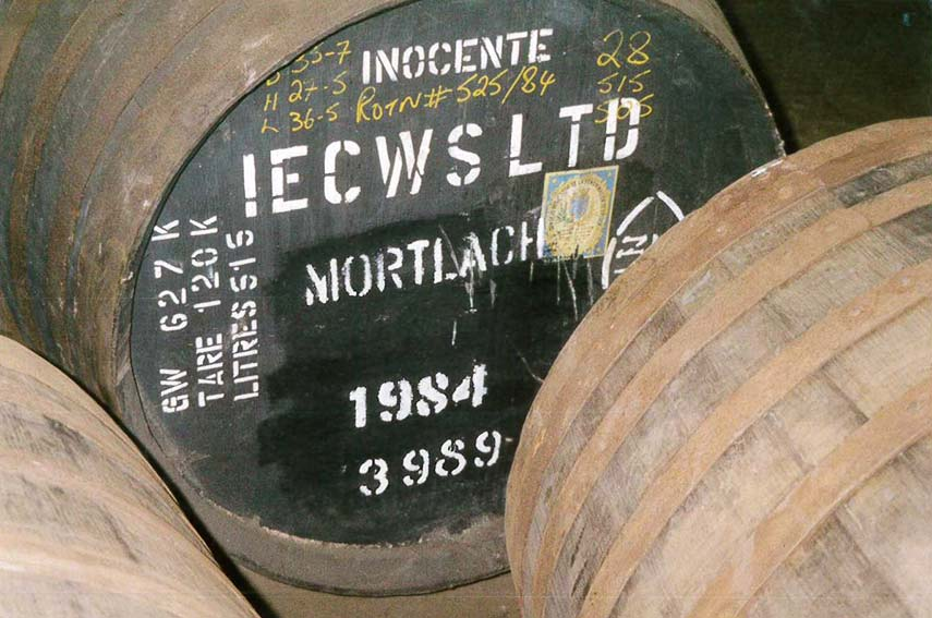 One of our barrels photographed on a visit to the distilleries before health and safety prevented you from using the flash and blowing the place up!