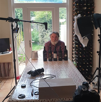Marcel Orford-Williams broadcasts weekly from his makeshift studio at home