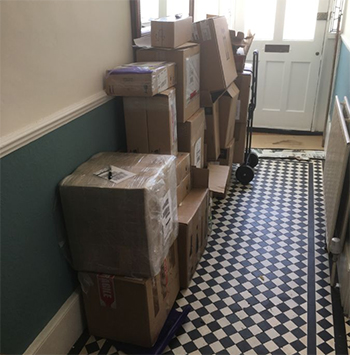 The Orford-Williams hallway has become a makeshift warehouse