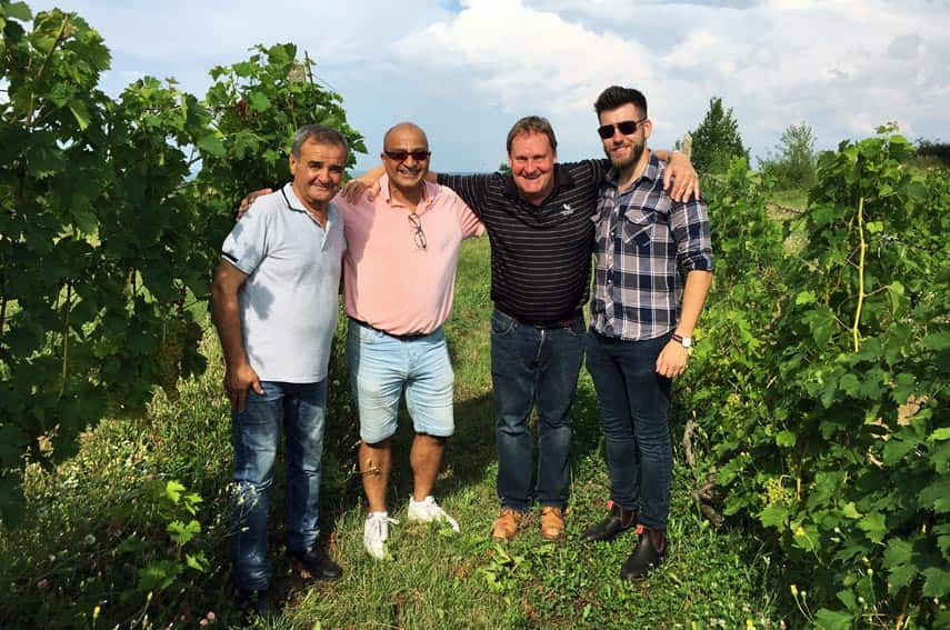Dumitru took great delight in showing us around his well-tended vineyards. Left to right: Dumitru Nedelut, agronomist, yours truly, Richard Fox, UK agent for Prince Stirbey & Wine Society buyer, Freddy Bulmer