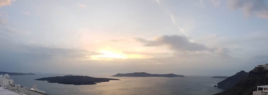 Freddy joined me on the mainland after a flying visit to Santorini and Crete, capturing the classic view of the sun setting over the outlying islands from the main island of Santorini before he left