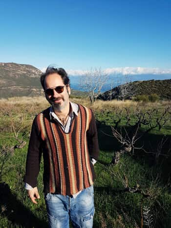 Panayiotis Papagiannopoulos showed us (with the help of Rex the dog) his beautiful organic vineyards on the slopes of Mount Helmos, a popular ski resort near Patras