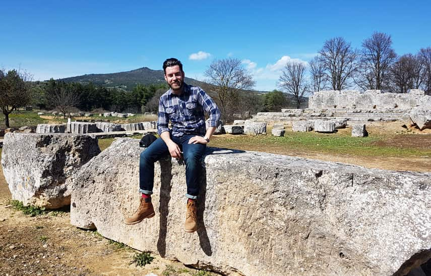 Freddy gets a history lesson at the ruins of Ancient Nemea from Sebastian who knows his classics as well as his wines!