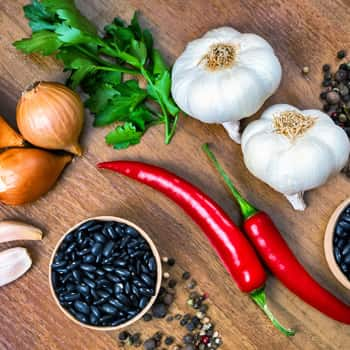 Black bean stew ingredients