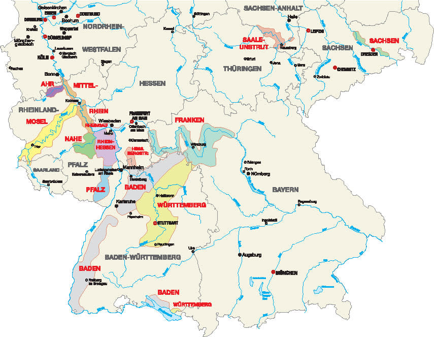 Map of Germany's wine regions