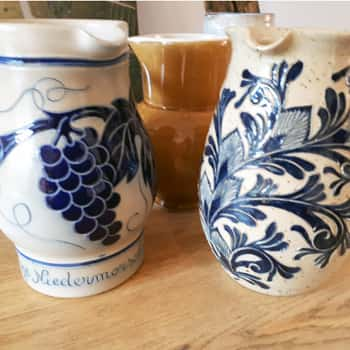 Traditional earthenware jugs in the Boxler tasting room