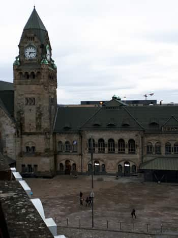 View from our hotel room – the impressive Germanic-looking railway station
