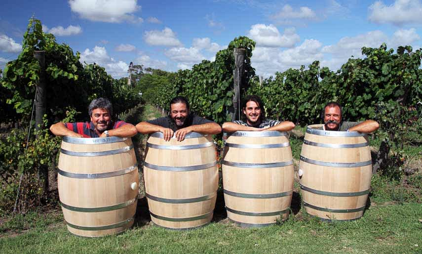 The Pisanos. Left to right: Eduardo (viticulture), Gustavo (winemaker) Gabriel (Eduardo's son and also a winemaker), Daniel (sales)