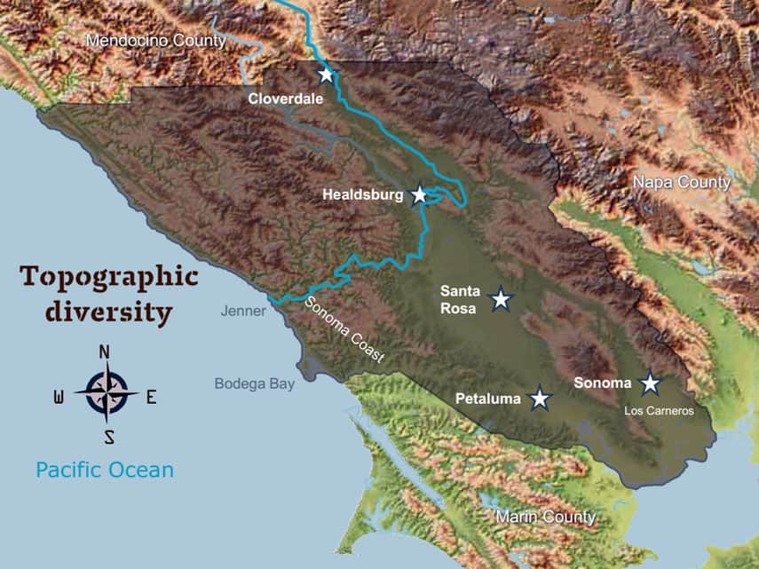 Sonoma wine region, California - topographic diversity