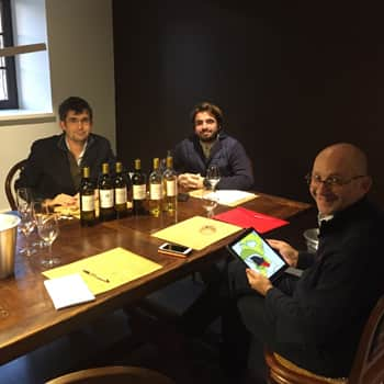 Left to right: Fabrice and his brother Jean-Jacques Dubourdieu with our buyer Tim Sykes