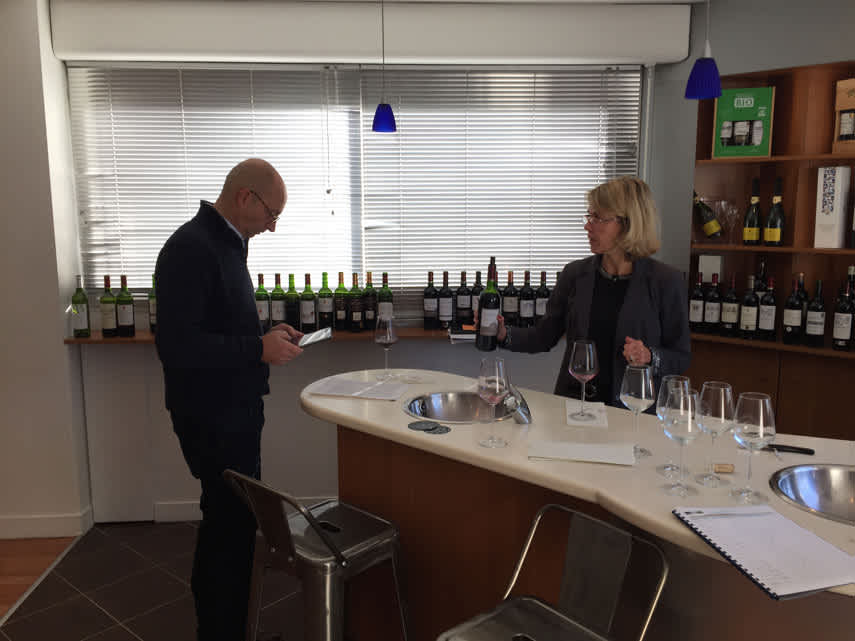 Tim and Maria Mercier from Sovex with the wines lined up behind