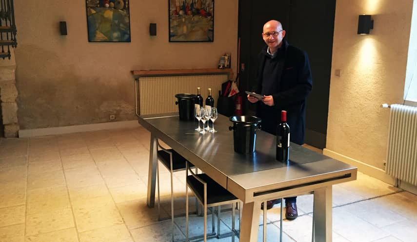 Tim Sykes in the tasting room at Château Thieuley, Bordeaux