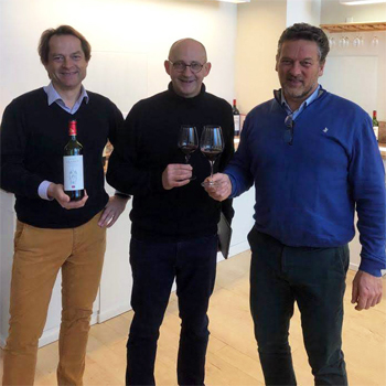 Charles Sichel, Tim Sykes and Yvan Meyer blending The Society's Claret in Bordeaux