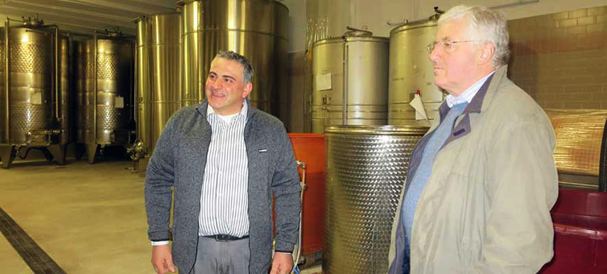 Cesare Adami of Riva dei Frati, producers of our Society's Prosecco greets Sebastian Payne MW in the winery