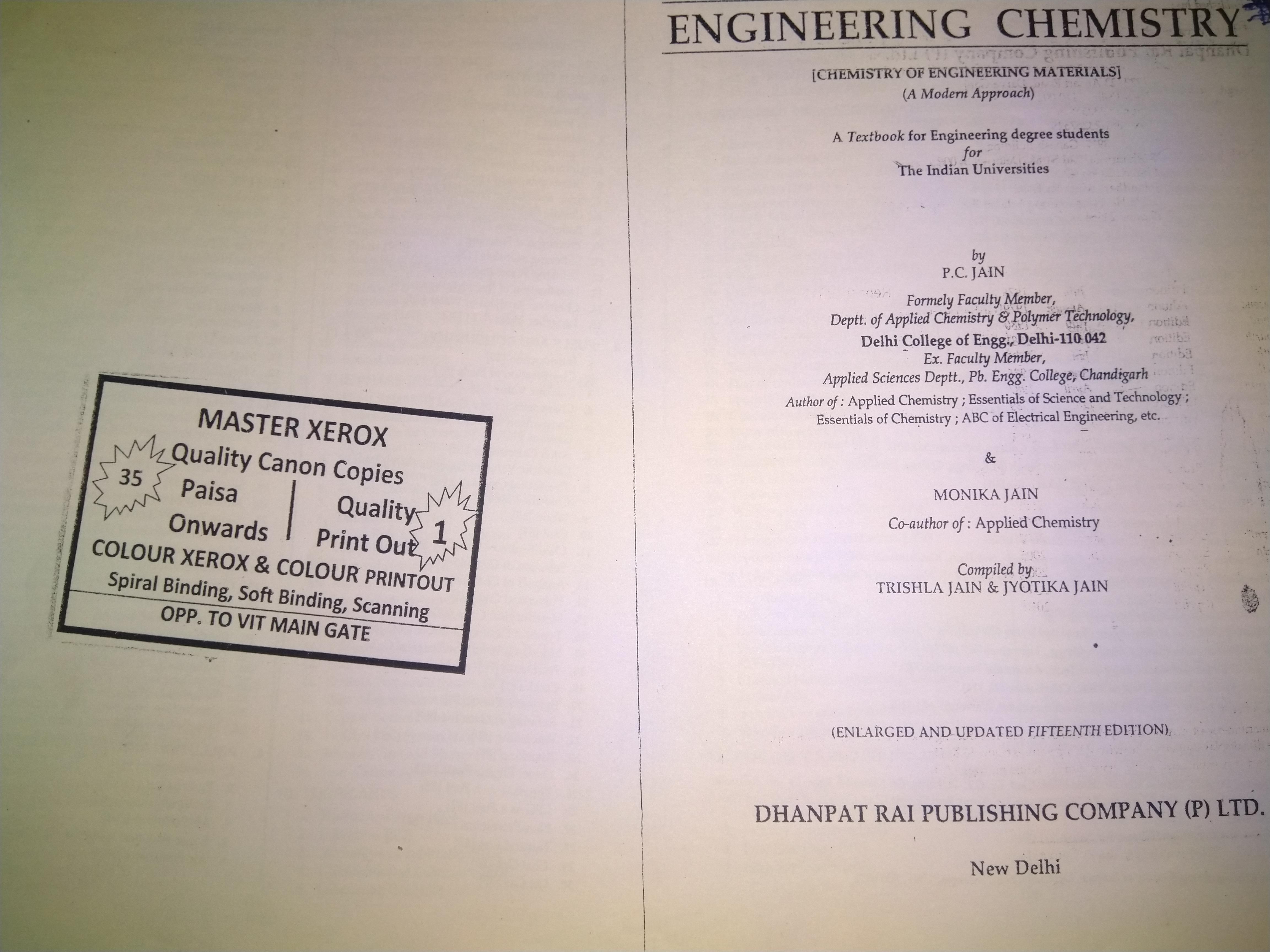Engineering Chemistry, P.C.JAIN, DHANPAT RAI PUBLISHING COMPANY (P) LTD.