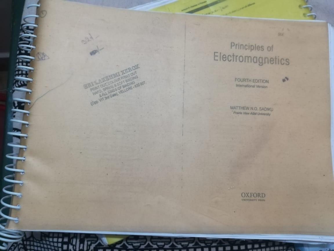 Principles of Electromagnetics by Sadiku