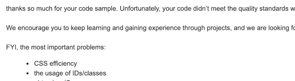 Część feedbacku, który dostałem po nieudanej rekrutacji.
