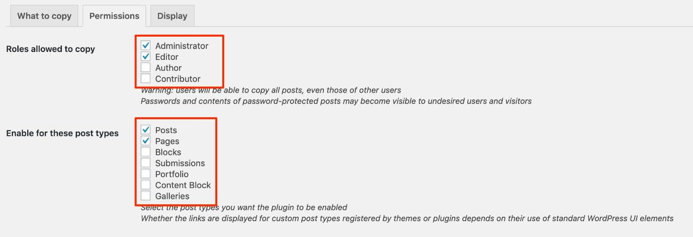 Duplicate Post Plugin - Permissions