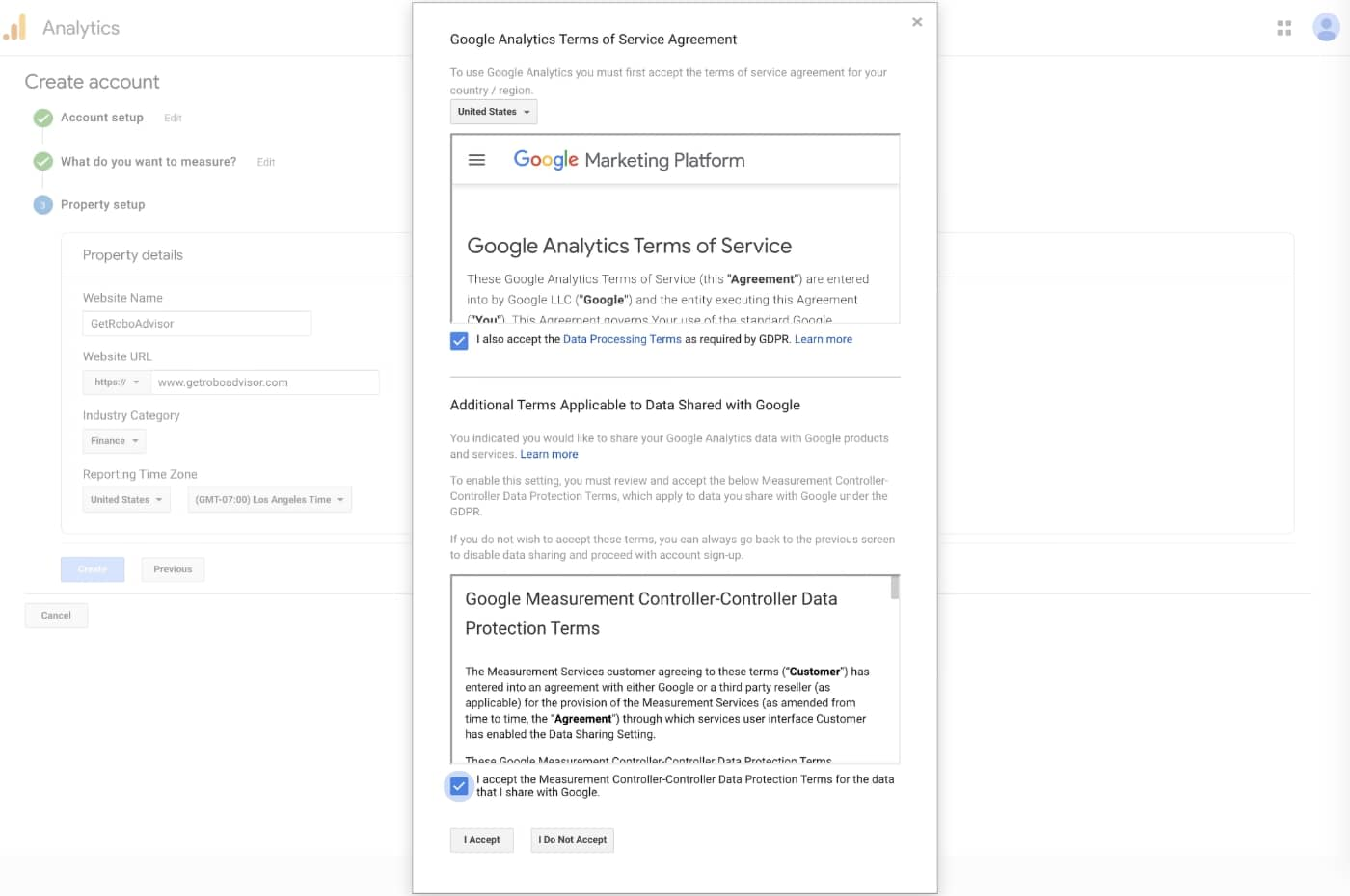 Google Analytics - Terms of Service Agreement