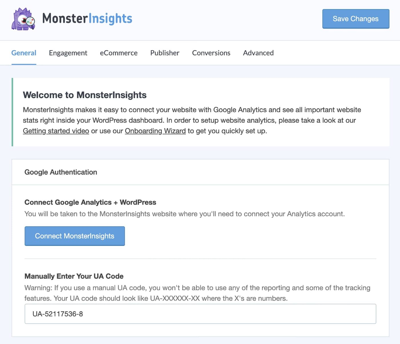 MonsterInsights - Google Authentication