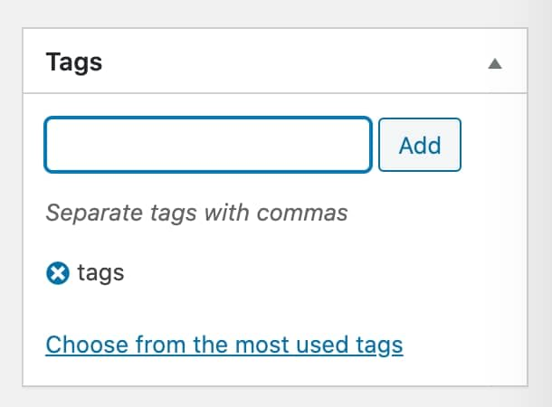 tags in WordPress post